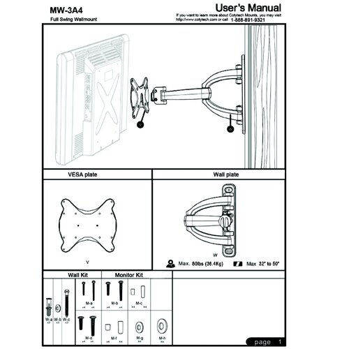 """Cotytech Articulating Arm/Tilt/Swivel Corner Mount for 32"""" - 50"""" Plasma/LCD/LED"""