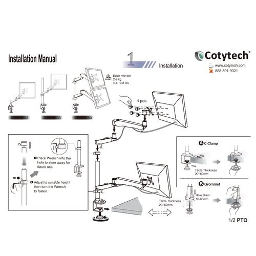 Cotytech Height Adjustable 2 Screen Monitor Desk Mount