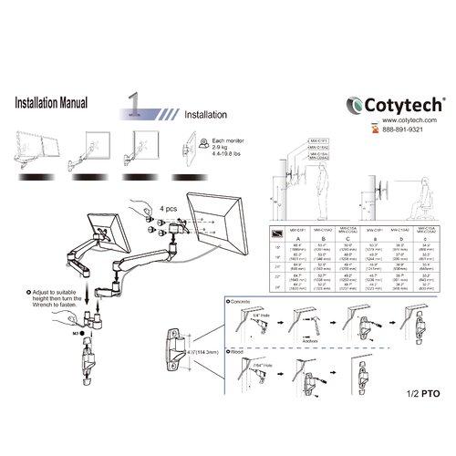 Cotytech Quick Release Spring Extending Arm/Tilt/Swivel Wall Mount for LCD