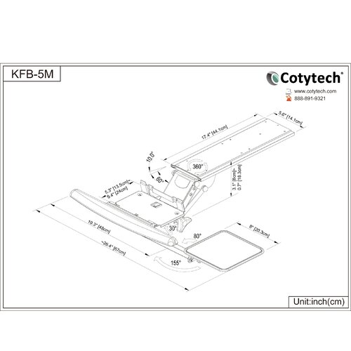 Cotytech Fully Adjustable Ergonomic Keyboard Mouse Tray-Lever