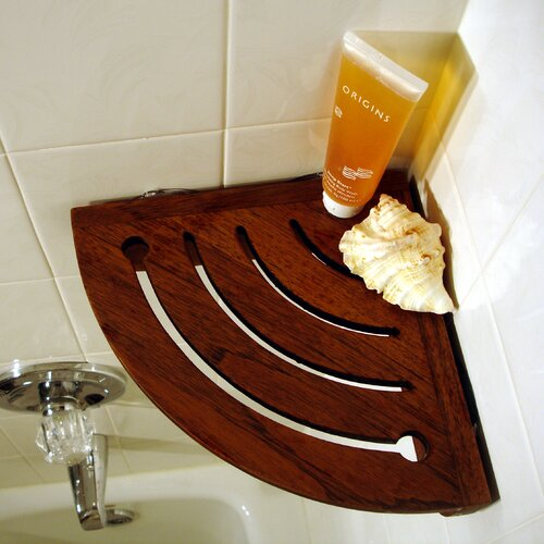 Simple 59quot Teak Corner Bathroom Shelf  Shower Caddies  Bathroom Accessories