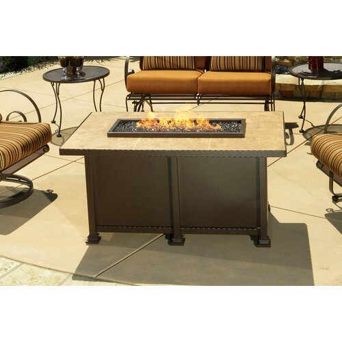 "OW Lee Casual Fireside Santornini 30"" x 50"" Rectangle Fire Pit with Mocha Tile"