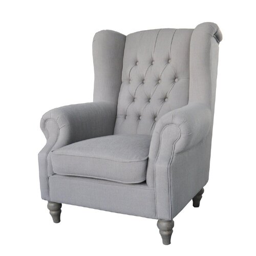 High Back Linen Arm Chair