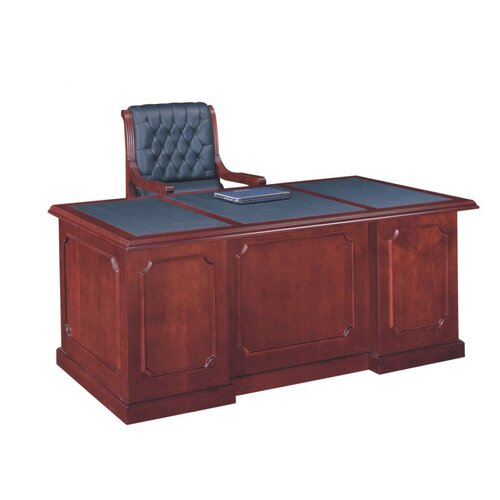 Absolute Office Heritage Leather Look Top Executive Desk with Center Drawer