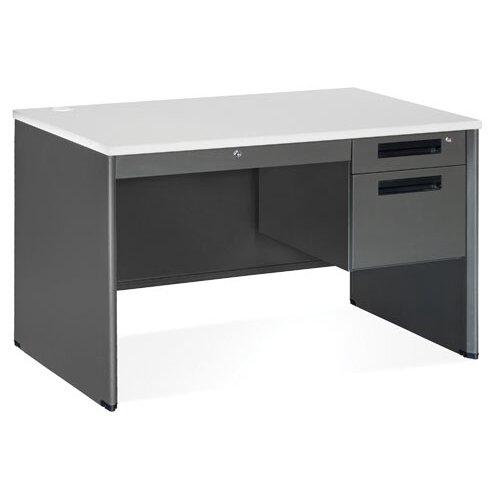OFM Mesa Series Single Pedestal Computer Desk with Center Drawer