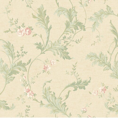 York Wallcoverings Heritage Home Delicate Acanthus Floral Botanical Wallpaper