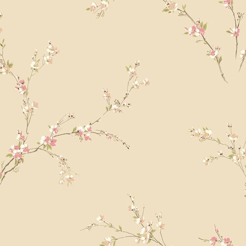 York Wallcoverings Gentle Manor Oriental Spring Blossoms Wallpaper