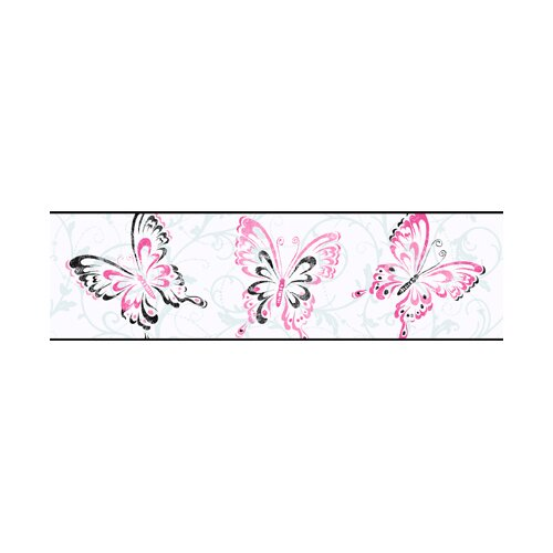 York Wallcoverings Candice Olsen Kids Butterfly Scroll Wallpaper Border