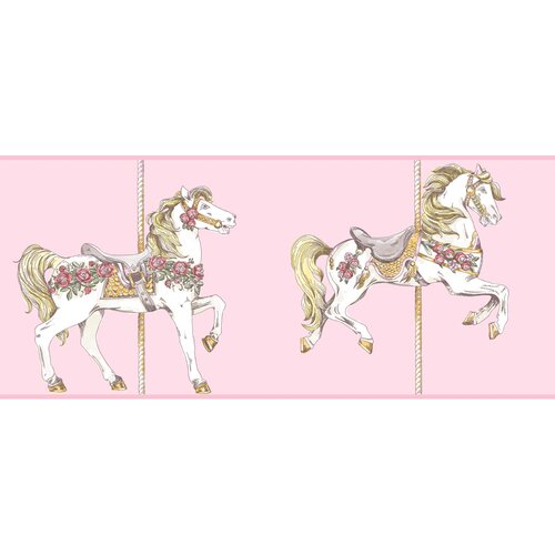 York Wallcoverings Peek-A-Boo Carousel Horse Toile Wallpaper Border