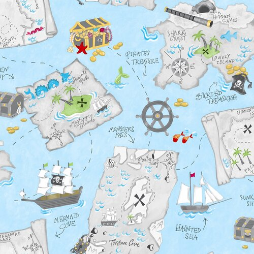 York Wallcoverings Peek-A-Boo Pirate Map Wallpaper