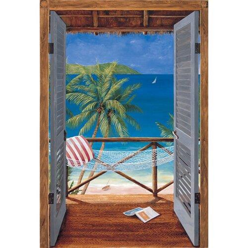Portfolio II Trompe L'Oiel Tropical Doors Accent Wall Mural