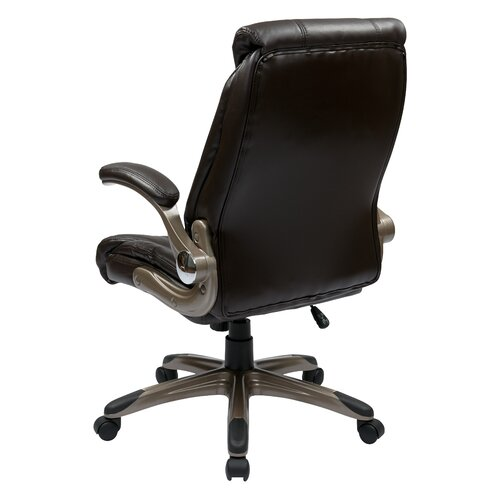 Office Star Products Mid-Back Manager Chair with Padded Flip Arms in Espresso