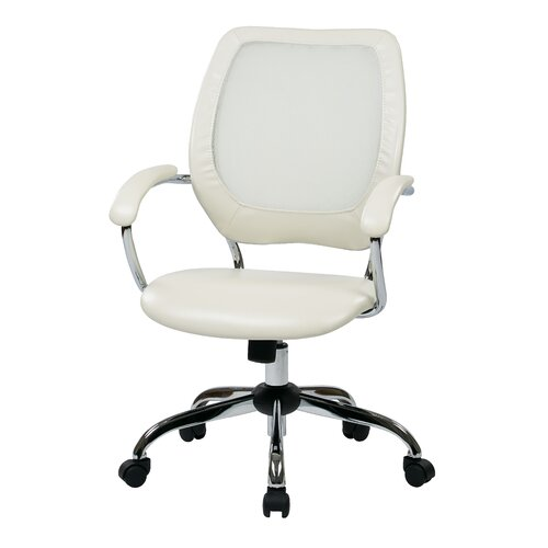 Office Star Products Designer Screen Back Managers Chair with Faux Leather Seat and Chrome Accents