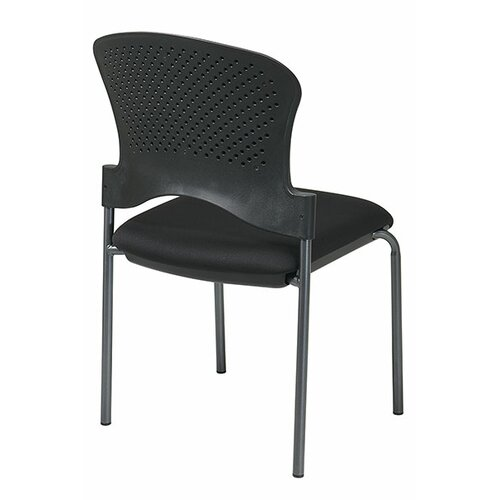 Office Star Products Titanium Finish Stacking Visitors Chair Armless, FreeFlex Fabric