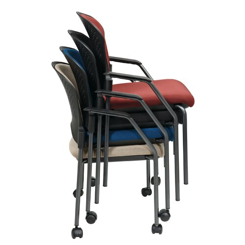 Office Star Products Titanium Finish Stacking Visitors Chair with Arms, FreeFlex Fabric