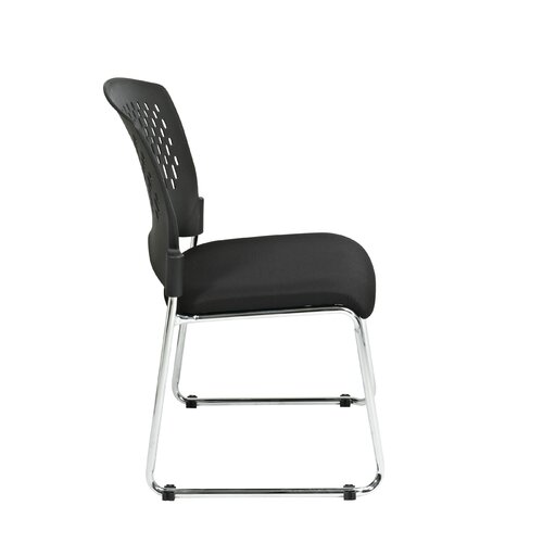 Office Star Products Visitors Chair with Plastic Back Fabric Seat