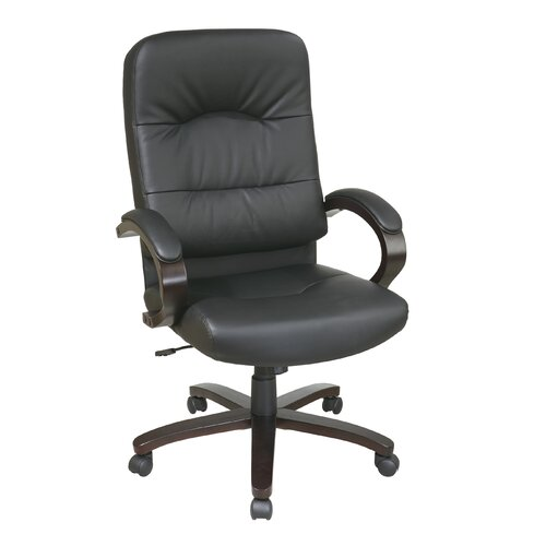 Office Star Products High-Back Eco Leather Chair with Padded Arms