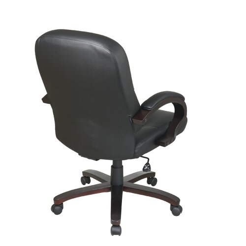 Office Star Products Mid-Back Eco Leather Chair with Padded Arms