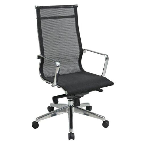 Office Star Products Deluxe Mesh Back and Seat High-Back Managerial Chair with Polished Aluminum Arms and Base