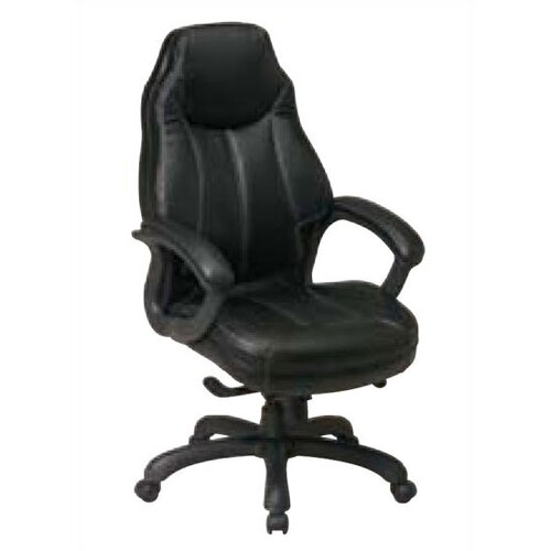 Office Star Products High Black Leather Deluxe Oversized Executive Chair