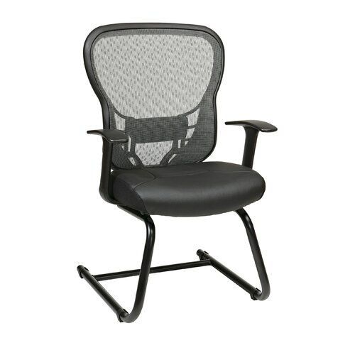 Office Star Products Deluxe R2 SpaceGrid® Back Leather Seat Visitors Chair with Fixed Arms