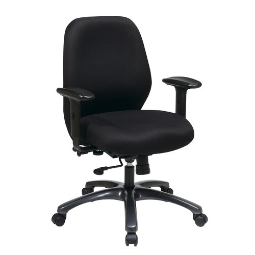 """Office Star Products 24.5"""" 24 Hour Ergonomic Chair with Synchro Tilt, Seat Slider and 2-Way Adjustable Arms"""