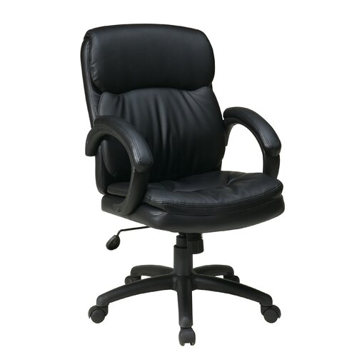 Office Star Products Mid-Back Eco Leather Executive Office Chair with Padded Arms