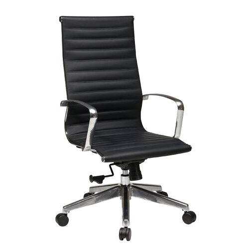 Office Star Products Hi-Back Eco Leather Deluxe Office Chair with Polished Aluminum Arms and Base