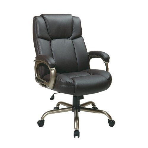 Office Star Products Eco Leather Big Mans Executive Office Chair with Padded Loop Arms