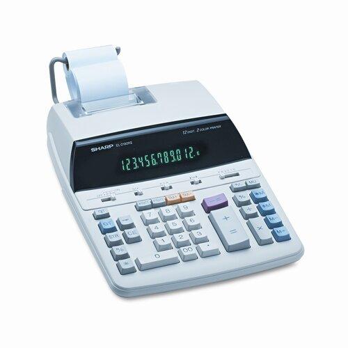 EL-2192RII Desktop Calculator, 12-Digit Fluorescent, Two-Color Printing