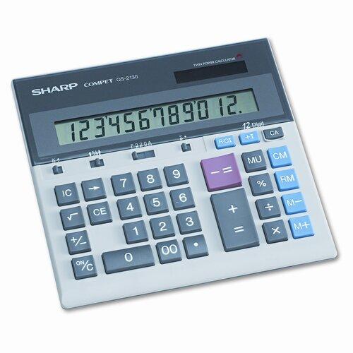QS-2130 Compact Desktop Calculator, 12-Digit LCD