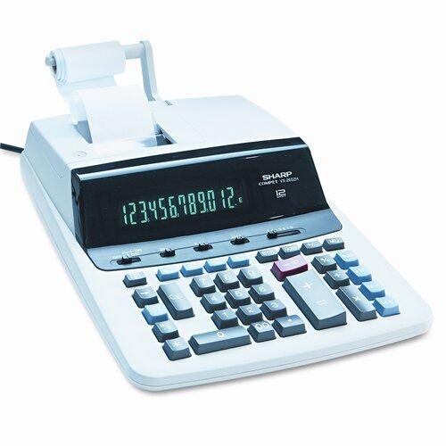 Sharp VX-2652H Desktop Calculator, 12-Digit Fluorescent, Two-Color Printing