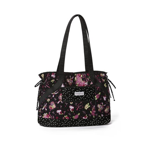 Women's Ribbons Of Hope Side Tie Quilted Tote Bag