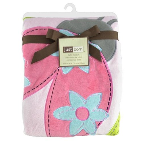 Just Born® Jumbo 3D Valboa Applique Pink Ladybug Blanket