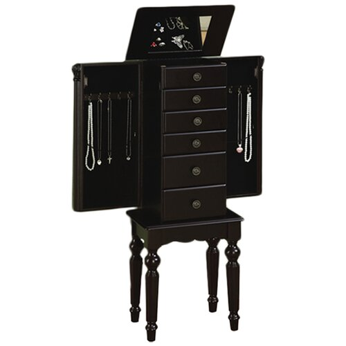 Powell Furniture Antique Black Petite Ebony Jewelry Armoire with Mirror
