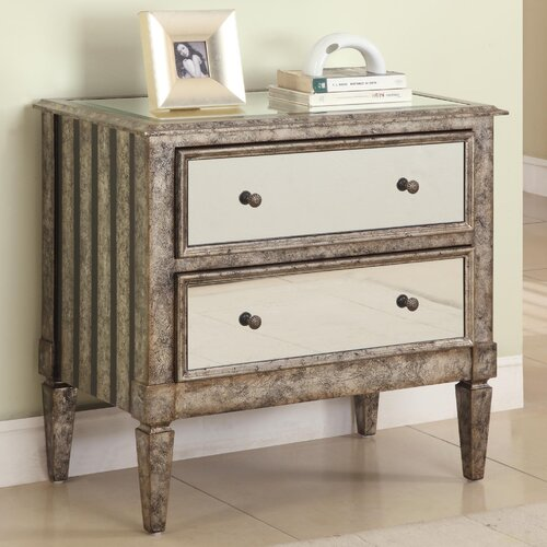 Powell 2 Drawer Mirrored Console & Reviews