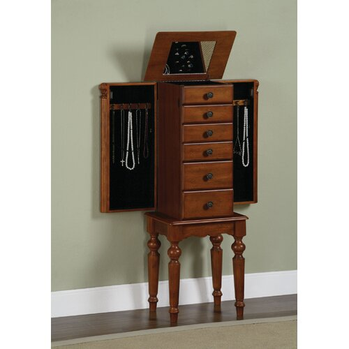 Powell Furniture Jamestown Landing Jewelry Armoire with Mirror