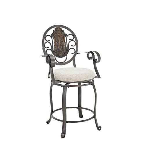Powell Furniture Big and Tall Scroll Medallion Back Bar Stool with Cushion