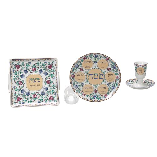 Israel Giftware Design Flower Themed Porcelain Seder Set