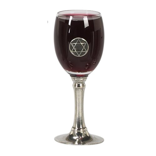 Israel Giftware Design Pewter and Glass Kiddush Cup