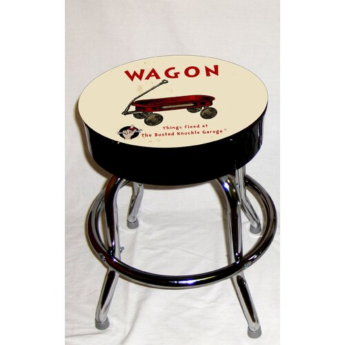 Almost There Busted Knuckle Garage Kid's Swivel Red Wagon Stool