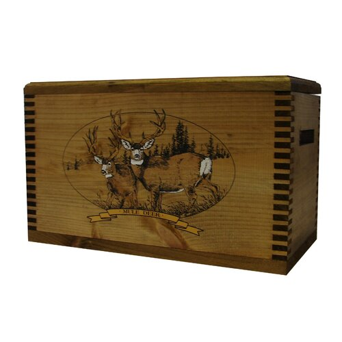 "Evans Sports Wooden Accessory Box With ""Wildlife Series"" Mule Deer Print"