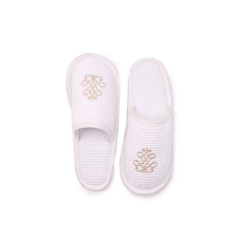 French Scroll Waffle Weave Cotton Slippers