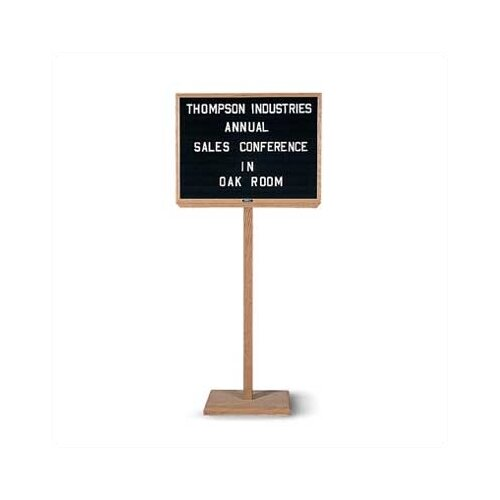 Marsh Single Pedestal Oak - Double-Sided - Open-Faced - Directory Boards
