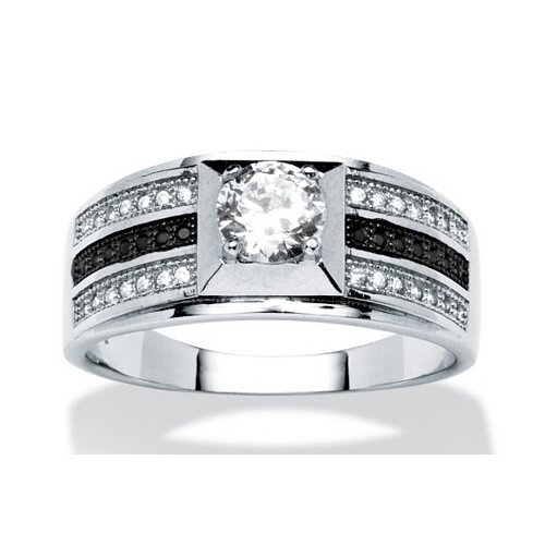 Men's Platinum Over Silver Round Cut Cubic Zirconia Ring