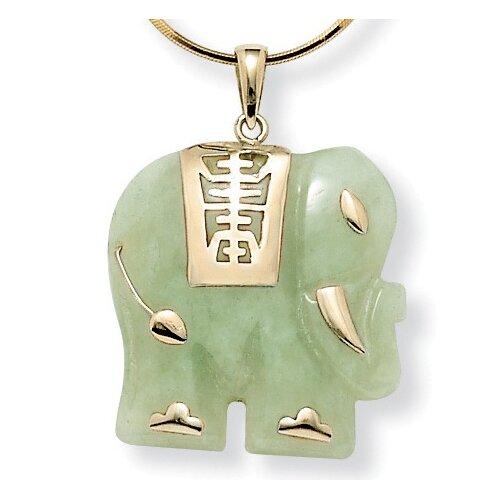 14k Gold Jade Elephant Pendant