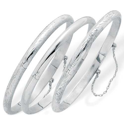Sterling Silver Bangle Bracelets (Set of 3)
