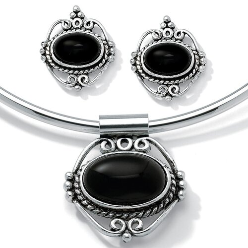 Palm Beach Jewelry Silvertone 3 Piece Onyx Collar and Earring Set