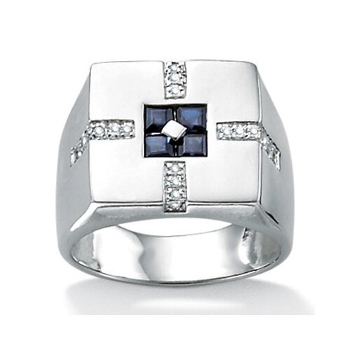 Sterling Silver Men's Blue Sapphire Ring