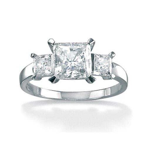 Palm Beach Jewelry Platinum/Silver Triple Princess-Cut Cubic Zirconia Ring